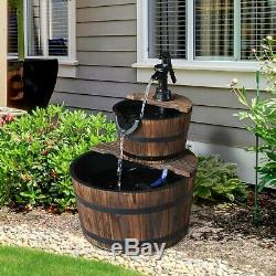 2 Niveau En Bois Pompe À Eau Fontaine De Jardin Ornement Décor Design Feature Barrel