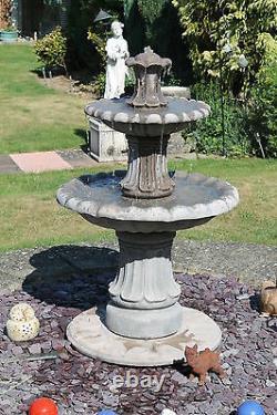 2 Niveaux De La Fontaine D'eau En Pierre De Barcelone Jardin Ornamente Pompe Solaire