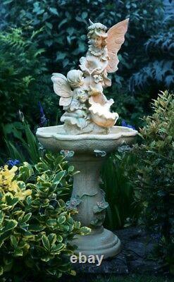 2 Scène Fée Sculpture Caractéristique De L'eau Fontaine Classique Pierre Effet Jardin