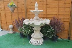 2 Teired Windsor Fontaine Grès Jardin Fontaine D'eau Ornement Caractéristique Solaire