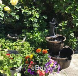 2 Tier Garden Barrel Pompe À Eau Fontaine Particuliarité Patio Cascade Ornement