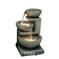3 Bowl Cascading Water Feature Fontaine Grand Stone Pump Inc Garden Pond Été