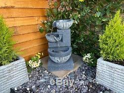 3 Bowl Pour Powered Solaire Contemporain Jardin D'eau Caractéristiques, Fontaine D'extérieur