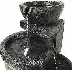 3 Effet De Pierre De Niveau Solaire Alimenté Par L'énergie Solaire Fontaine Extérieure De Jardin D'eau Dispositif 61cm