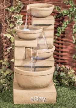 3 Niveaux D'eau Cascade Feature Jardin Extérieur Crème Fontaine Et Lumières Led 85cm