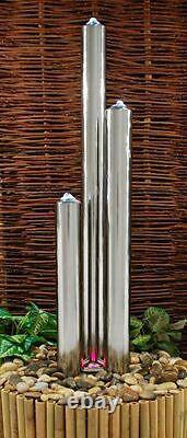 3 Tube Colonne De L'eau Caractéristique Fontaine Contemporain En Acier Inoxydable Polonais Jardin