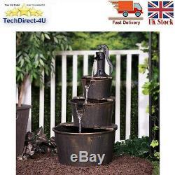 3-tier Effet En Bois Barrel Avec Pompe Cascading Fontaine D'eau Jardin Caractéristiques