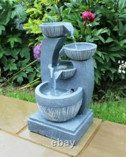 4 Palier Gris De Pierre Regardent L'ornement Extérieur De Dispositif D'eau De Fontaine Légère De Led De Jardin