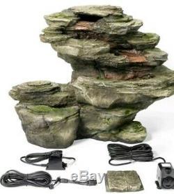 4 Tier Grey Rock Effet Cascade Cascade Fontaine Eau Caractéristiques Jardin Intérieur