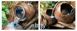 4 Tier Jar Jug Water Feature Fountain Cascade Ancient Faïence Pottery Effet