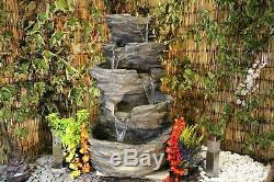 5 Niveau Pierre Effet Rocher Chute D'eau Jardin Feature, Fontaine D'extérieur