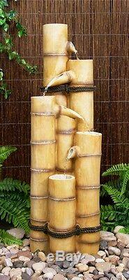 5 Niveau Tube Colonne D'eau Caractéristiques Fontaine Cascade Bois Bambou Effet Jardin