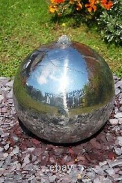 Acier Inoxydable Poli 75cm Sphère Caractéristique De L'eau Cascade Fontaine Jardin