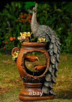 Amazing Jeco Inc. Resin Peacock Fontaine D'eau Avec Lumière Led