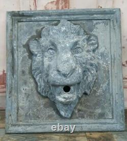 Antique Vintage Plomb Lion Head Garden Water Feature Fountain Sculpture