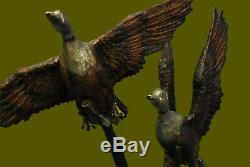 Art Déco Hot Cast Deux Fling Oiseaux Bronze Swan Fontaine D'eau Statue Jardin Vente