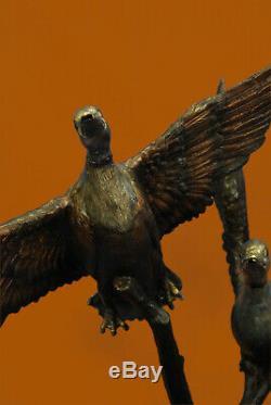 Art Déco Hot Cast Deux Oiseaux Statue Bronze Fling Swan Fontaine D'eau Jardin Cadeau