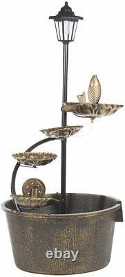 Baril Et Lotus Outdoor Garden Fountain Caractéristique De L'eau Avec Lumière Led Solaire Alimenté