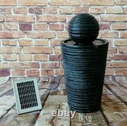Batterie Backup Garden Extérieur Solar Powered Ball & Plinth Fontaine D'eau
