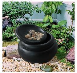 Black Water Feature Jardin En Plein Air Patio Statue Fontaine Moderne Zen Bol Nouveau