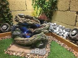 Bois Plan D'eau En Cascade Avec Des Lumières, En Cascade Fontaine Pots, Fontaine De Jardin