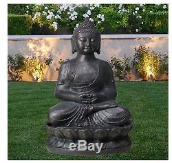 Bronze Bouddha Extérieur Jardin Patio Statue Fontaine Led Lumière Moderne Eau Nouveau