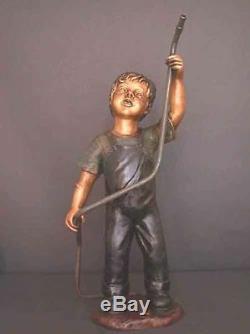 Bronze Fontaine Boy Avec Jardin Sculpture Tuyau D'eau Art