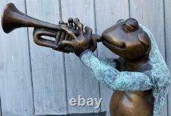Bronze Fontaine Water Garden Caractéristique Sculpture Statue Grenouille Jouant Trompette 85cm