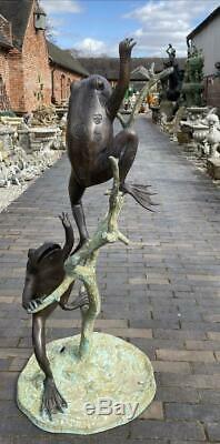 Bronze Fountain Water Garden Feature Deux Grenouilles 106cm Haut