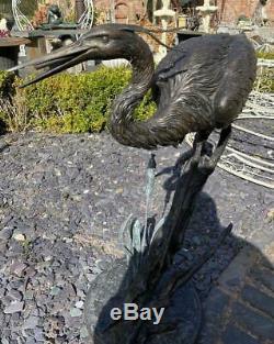 Bronze Fountain Water Garden Feature Unique Heron / Cigogne / Grue 81cm Haut