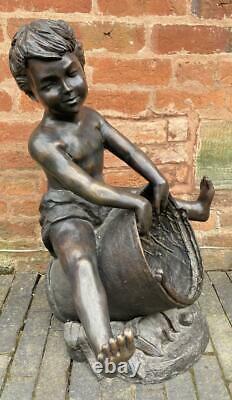 Bronze Sculpture Eau Caractéristiques / Fontaine Boy Avec Seau Extérieur Jardin