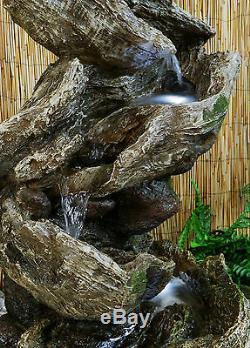 Bûche En Bois Cascade Caractéristique Eau Fontaine Pays Naturel Effet De Bois Jardin