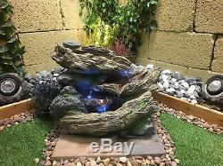 Caractéristiques Bubbling Woodland Jardin Eau, Énergie Solaire Fontaine D'extérieur