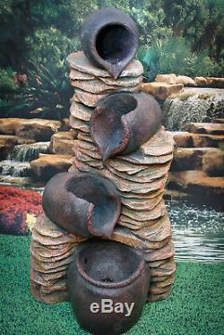 Caractéristiques De L'eau Fontaine Pierres Et Pots, Haute 120cm, Jardin, Led Extérieur