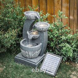 Caractéristiques De L'eau Led Fontaine De Jardin Polyresin Ornement Statue Extérieure Patio Decor