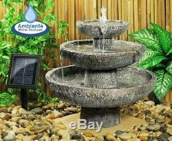 Cascade Solaire 3 Niveaux Fontaine Caractéristique De L'eau Jardin Décor D'ornement En Plein Air