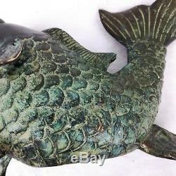 Cast Main Koi Fish Jardin Sculpture Statue En Bronze Fontaine D'eau En Métal Spitter