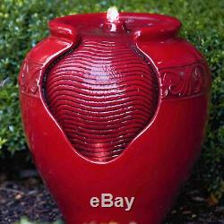 Complet Peaktop Extérieur Jardin Patio Led Rouge Pot Fontaine D'eau Feature Yg0034a
