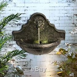 Complet Peaktop Jardin Mur Extérieur Tête De Lion Fontaine D'eau Avec Led, Ch