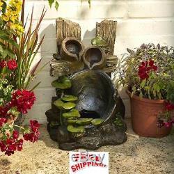 Creusets En Cascade De Fontaine De Caractéristique De L'eau 2 Étang Extérieur De Jardin D'urne De Jardin Et Lumière Menée