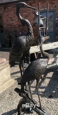 Deux Hérons / Cigognes / Cranes Bronze Fountain Water Garden Feature
