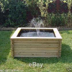 Doublure Et Pompe De Garniture D'eau En Fontaine De Piscine De Jardin En Bois Avec Bassin De 120 Gallons