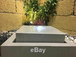 Eau En Zinc Cube Avec Lumières, Fontaine Extérieure, Eau En Jardin Solaire