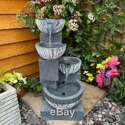 Eclipse 4 Bowl Contemporaine Solaire De Jardin D'eau Caractéristiques, Fontaine D'extérieur
