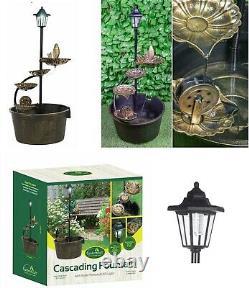Effet Cuivre Cascading 4 Feuilles De Lotus Fontaine D'eau À Barres Lumière Solaire 12260