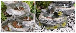 Effet De Roche En Cascade Caractéristique De L'eau 5 Étape Avec Lights Waterfall 56cm
