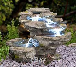 Effet De Roche Gris À 4 Niveaux Avec Cascade D'eau Fontaine Jardin Intérieur Avec Cascade