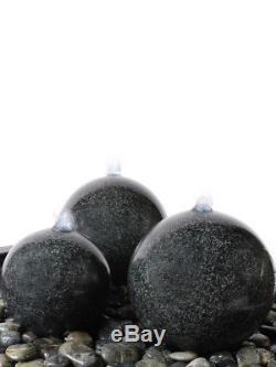 Ensemble De Fontaine De Jardin Avec Fonction De L'eau Triple Granite Sphere Avec Piscine Renforcée