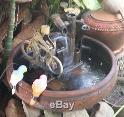 Fait À La Main En Bambou Vélo Jardin Fontaine D'eau Libre Pompe A Eau