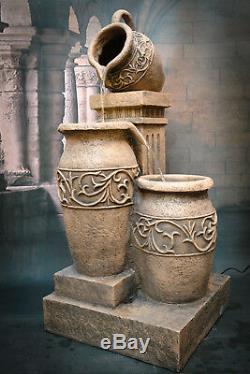 Fontaine Athéna Avec Fontaines D'eau, Hauteur 107cm, Jardin, Extérieur Led